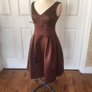 Talbots dress 6 P brown taffeta sequin beaded band